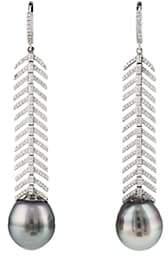 Samira 13 Women's Feather Drop Earrings - White