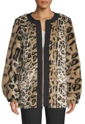 Donna Karan Faux Fur Leopard Print Zip Coat