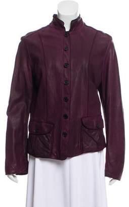Burberry Mandarin Collar Leather Jacket