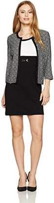 Sandra Darren Women's Petite 2 Pc 3/4 Sleeve Printed Knit Sheath Dress with Jacket