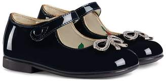 Gucci Kids crystal bow ballerinas