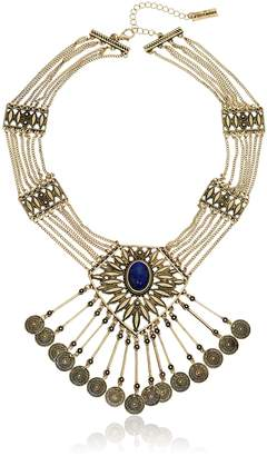 "Steve Madden Tribal Stone and Coin Statement Necklace, 19"" + 3"" Extender"