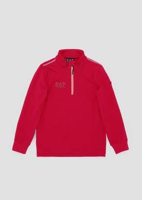 Emporio Armani Ea7 Boys Sweatshirt With Half Zip And Coloured Stitching