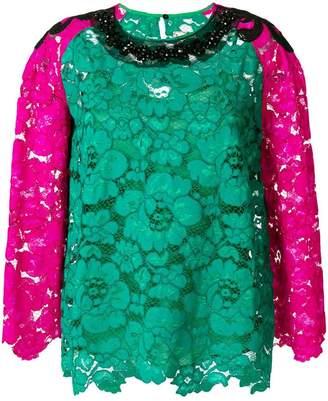 Antonio Marras colour-block lace blouse