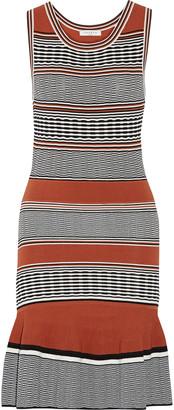 Sandro Striped stretch-knit mini dress $410 thestylecure.com