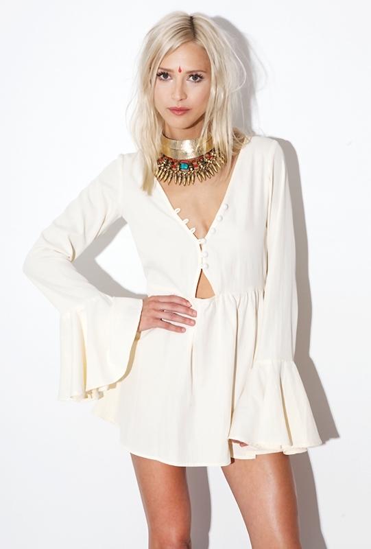 For Love & Lemons Lotus Dress in Ivory