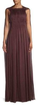 Valentino Cape-Back Pleated Silk Gown