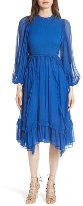 Ulla Johnson Arielle Smocked Silk Cloque Dress