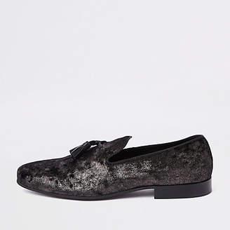 River Island Black velvet woven tassel loafers