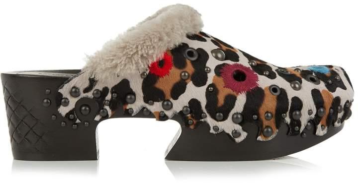 Bottega VenetaBOTTEGA VENETA Leopard-print calf-hair and shearling clog sandals