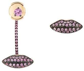 Delfina Delettrez 18kt gold Lips sapphire earrings