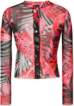Fuzzi sheer palm print blouse