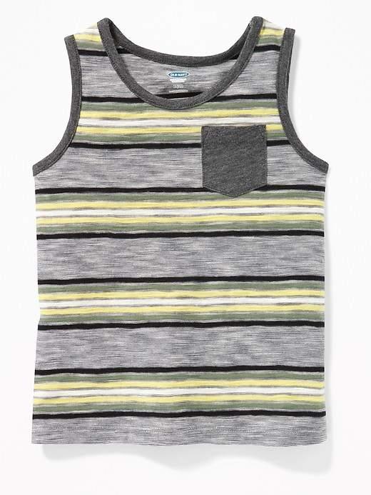 Striped Slub-Knit Pocket Tank for Toddler Boys