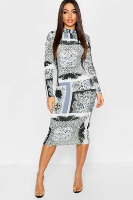 boohoo Leopard + Chain Mix Print Long Sleeve Midi Dress
