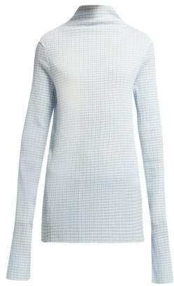 Jil Sander Gingham High Neck Stretch Seersucker Top - Womens - Blue White