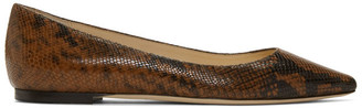 Jimmy Choo Brown Snake Romy Flat Loafers
