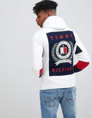 Tommy Hilfiger back logo print and icon sleeve detail full zip hoodie in white