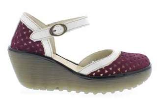 8520118c323 Fly London Yude - Mary Jane Wedge Sandal - Magenta Offwhite   Black