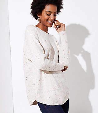 LOFT Petite Speckled Dolman Sweater