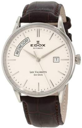 Edox Men's ' Les Vauberts Swiss Automatic Stainless Steel and Leather Casual Watch