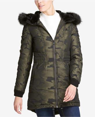 DKNY Faux-Fur-Trim Camo-Print Parka