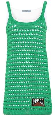 Prada Cotton crocheted minidress