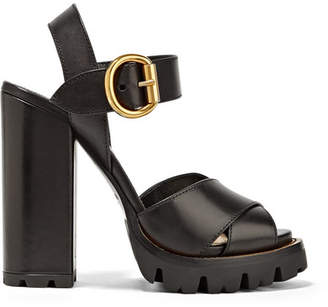 Prada Leather Platform Sandals - Black