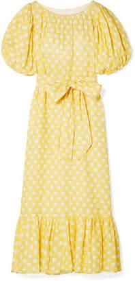 Lisa Marie Fernandez Belted Polka-dot Linen Maxi Dress - Pastel yellow