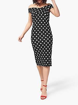 Oasis Spot Bardot Dress, Multi Black