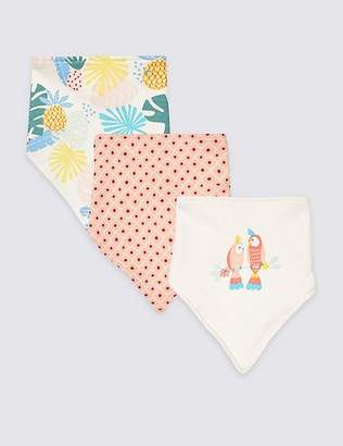 Marks and Spencer 3 Pack Pure Cotton Tropical Triple Bibs