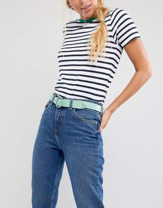 Asos DESIGN Circle Tipped Jeans Belt In Green