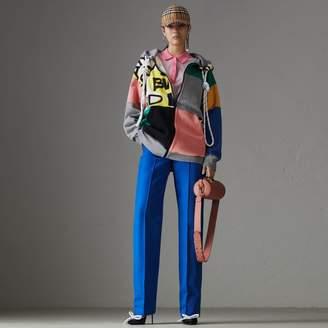Burberry Contrast Collar Silk Cashmere Polo Shirt