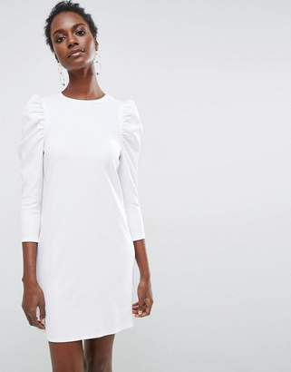 ASOS Crepe Mini Dress With Puff Sleeves $45 thestylecure.com