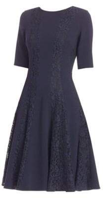 Teri Jon by Rickie Freeman Lace-Trimmed Fit-&-Flare Dress