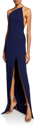SOLACE London Petch One-Shoulder Maxi Dress with Thigh Split