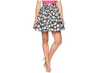 Unique Vintage 1950s Black Pink Floral High-Waist Flare Skirt