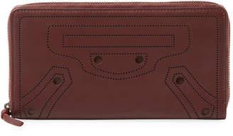 Balenciaga Blackout Perforated Leather Zip Around Wallet