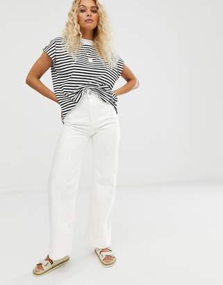 Weekday Cosmo denim trousers in white
