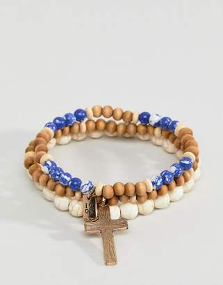 ICON BRAND Blue & Cream Beaded Bracelet In 3 Pack Exclusive To ASOS