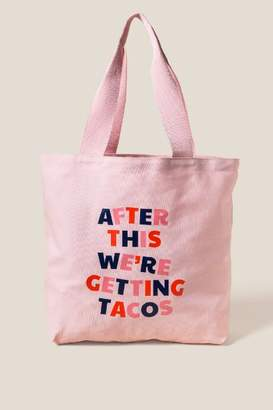 francesca's Ban. do Big Canvas Tote, After This We're Getting Tacos - Pale Pink