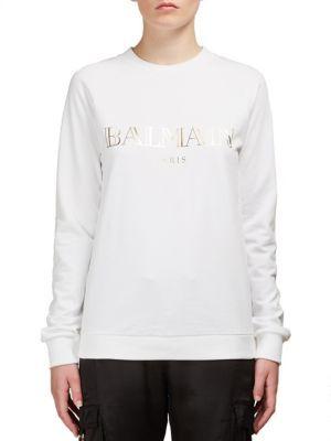 Balmain Logo Sweatshirt $530 thestylecure.com