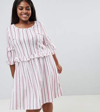 Junarose organic striped frilled smock mini dress