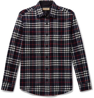 Burberry Checked Wool and Cotton-Blend Shirt - Navy