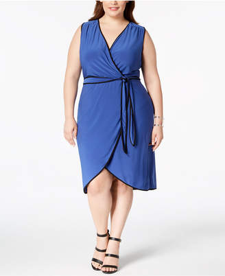 Love Squared Trendy Plus Size Piped Faux Wrap Dress