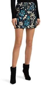 Prada Women's Floral Cloqué Belted Miniskirt - Blue