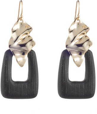 Alexis Bittar Crumpled Gold Drop Wire Earring