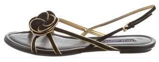 Ralph Lauren Metallic-Trimmed Slingback Sandals