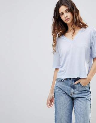 Asos DESIGN t-shirt with v-neck in linen mix in pastel blue