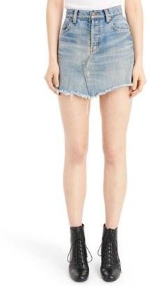 Women's Saint Laurent Asymmetrical Denim Miniskirt $950 thestylecure.com