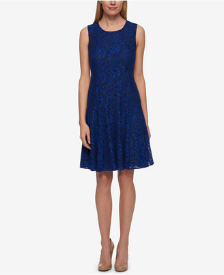 Tommy Hilifiger Two-Tone Paisley Lace A-Line Dress $139 thestylecure.com